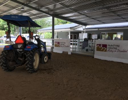 Tractor and lift in new arena